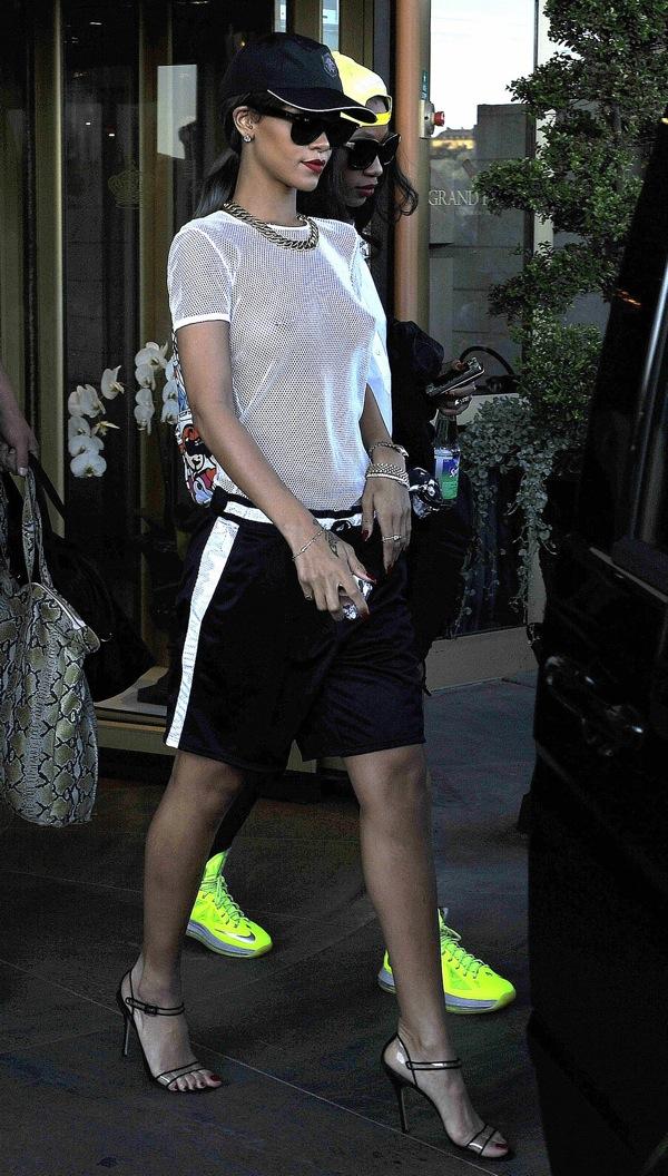 2-Rihannas-Sweden-Mesh-Top-Athletic-Shorts-and-Manolo-Blahnik-Fursen-Sandals-Pictures-NSFW